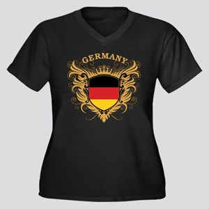 Germany Women's Plus Size V-Neck Dark T-Shirt
