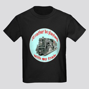 playing with trains Kids Dark T-Shirt