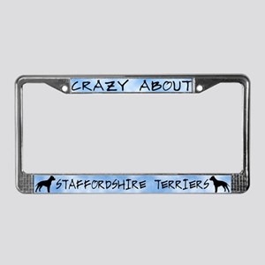 Crazy Ab Staffordshire Terrier License Plate Frame