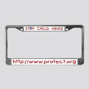 Stop Child Abuse PROTECT License Plate Frame