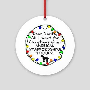 Dear Santa Staffordshire Terrier Xmas Ornament