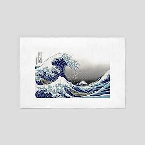 great wave of Kanagawa by hokusai 4' x 6' Rug