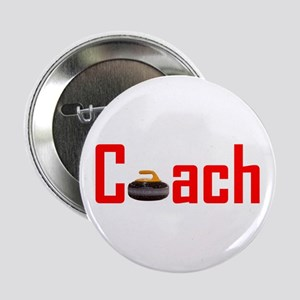 """Curling Coach Red 2.25"""" Button"""