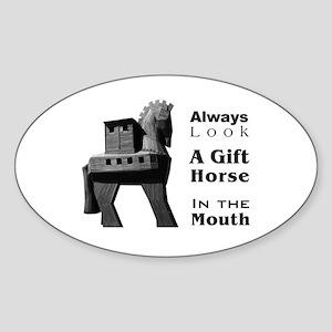 Trojan Horse Oval Sticker