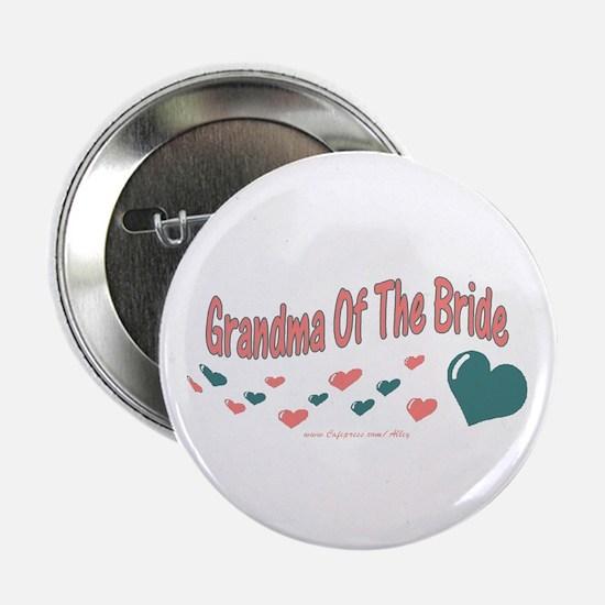 """Grandma Of The Bride (hearts) 2.25"""" Button"""