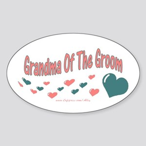 Grandma Of The Groom (hearts) Oval Sticker