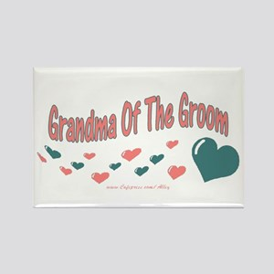 Grandma Of The Groom (hearts) Rectangle Magnet