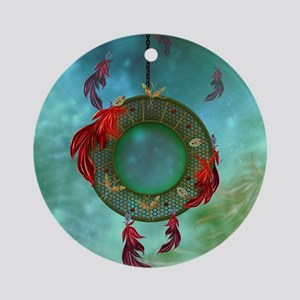 Wonderful dreamcatcher with feathers Round Ornamen