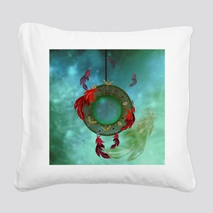 Wonderful dreamcatcher with feathers Square Canvas