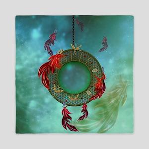 Wonderful dreamcatcher with feathers Queen Duvet
