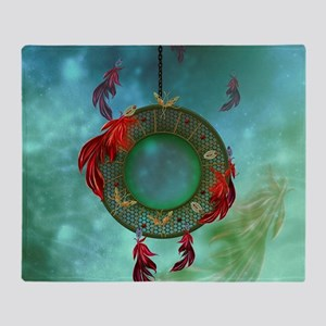 Wonderful dreamcatcher with feathers Throw Blanket
