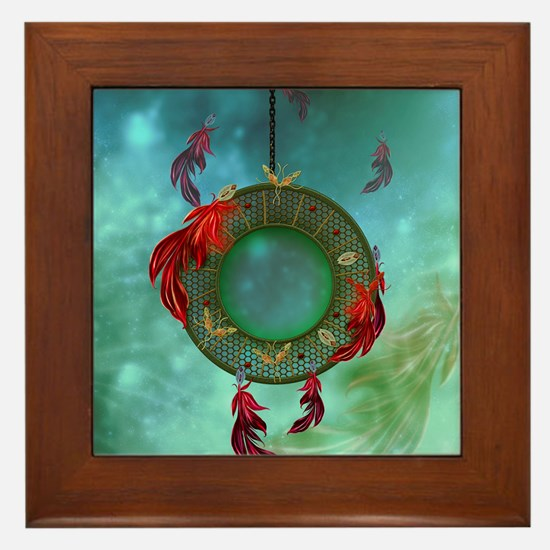 Wonderful dreamcatcher with feathers Framed Tile
