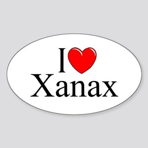 """I Love (Heart) Xanax"" Oval Sticker"