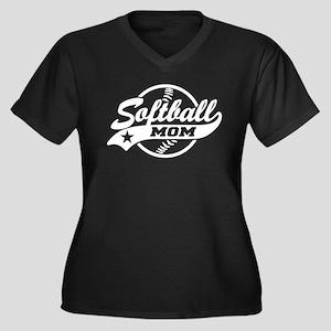 Softball Mom Women's Plus Size V-Neck Dark T-Shirt