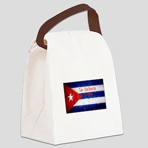 La Habana Cuba Flag Canvas Lunch Bag