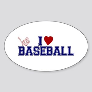 I Love Baseball Oval Sticker