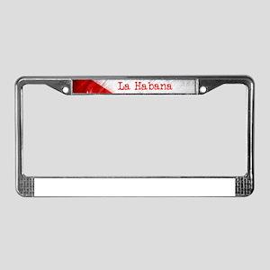 La Habana Cuba Flag License Plate Frame
