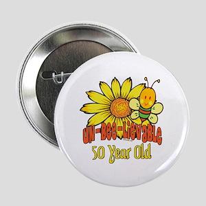 "Un-Bee-Lievable 50th 2.25"" Button"