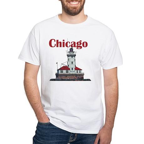 The Chicago Harbor Lighthouse White T-Shirt