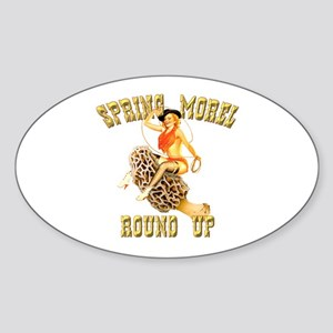 spring morel round up Oval Sticker