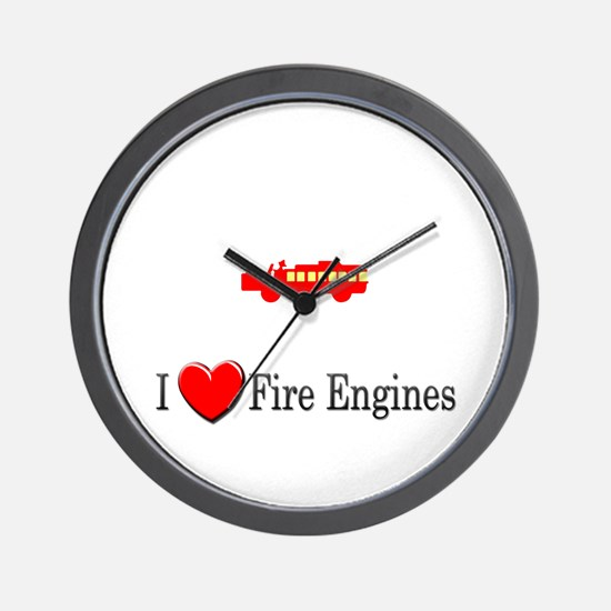 I Love Fire Engines Wall Clock