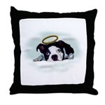 BOSTON TERRIER ANGEL LOOK Throw Pillow