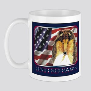 Collie Dog Patriotic Flag USA Mug