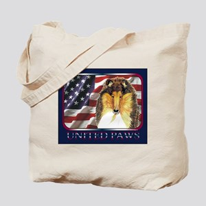 Collie Dog Patriotic Flag USA Tote Bag
