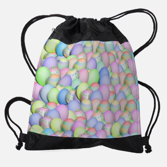 Pastel Colored Easter Eggs Drawstring Bag