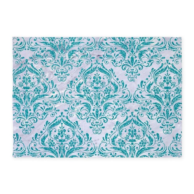 Damask1 White Marble Amp Turquoise Gl 5 X7 Area Rug By