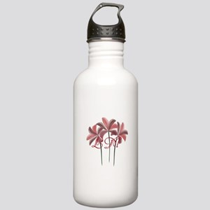 Red Lilies Monogram Water Bottle