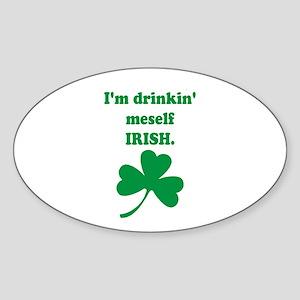 Drinking Meself Irish Oval Sticker