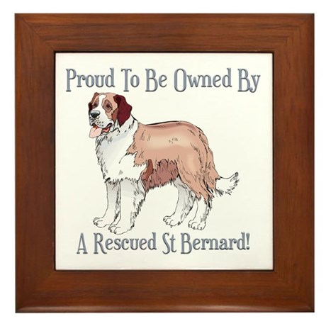 Proudly Owned By a Rescued St Bernard Framed Tile