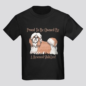 Proudly Owned By A Rescued Shihtzu Kids Dark T-Shi