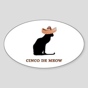 Cinco de Meow Oval Sticker