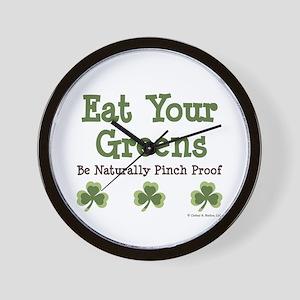 Eat Your Greens Shamrock Wall Clock