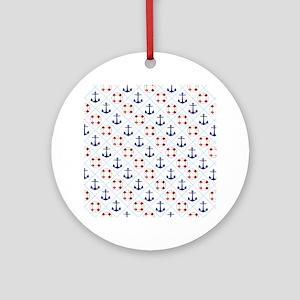 Nautical, life savers+anchors Round Ornament