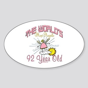 Angelic At 92 Oval Sticker