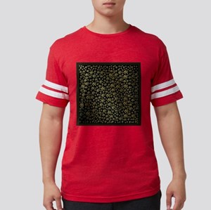 golden notes music symbol in glossy black T-Shirt
