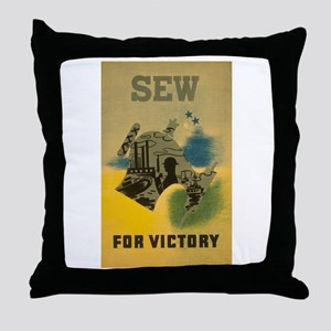Sew For Victory - War Poster Throw Pillow