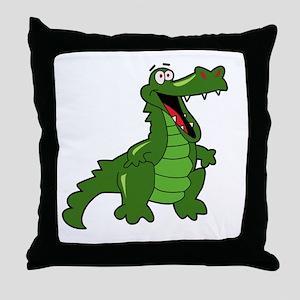 Happy Alligator Throw Pillow