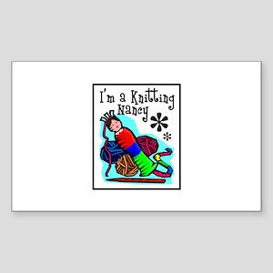 I'm a Knitting Nancy Rectangle Sticker