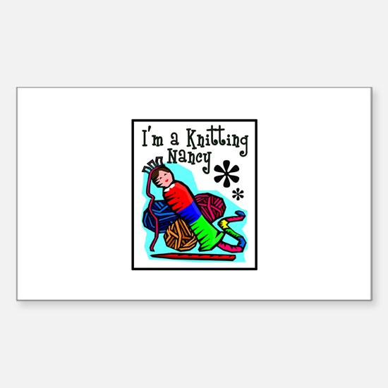 I'm a Knitting Nancy Rectangle Decal