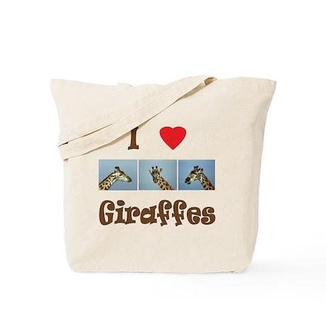 I Love Giraffes Tote Bag