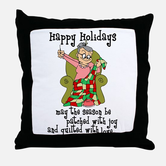 Happy Holidays - Quilter Throw Pillow