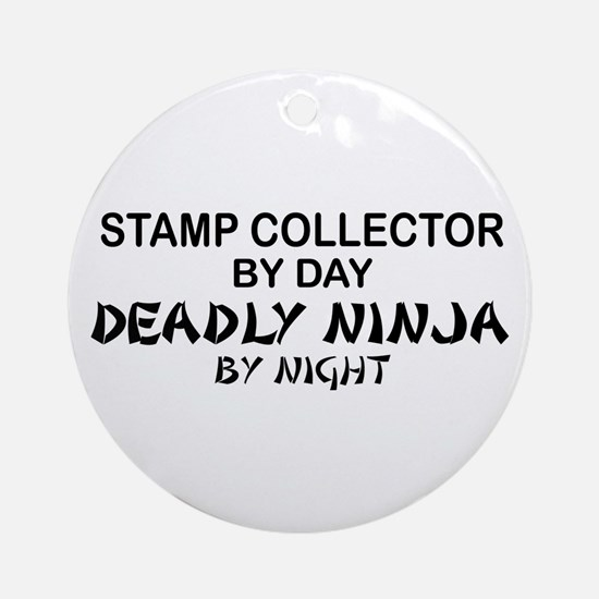 Stamp Collector Deadly Ninja Ornament (Round)