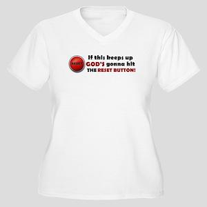 God's Reset Button Women's Plus Size V-Neck T-Shir
