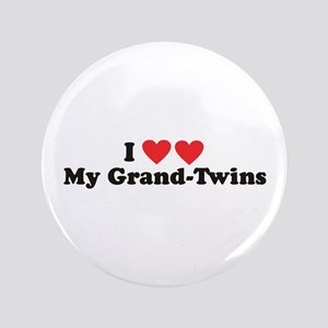 "I Heart My Grand Twins - 3.5"" Button"
