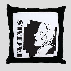 Retro Facials Throw Pillow