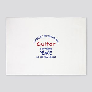 Guitar is my religion 5'x7'Area Rug